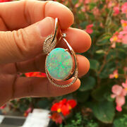 Kg795cts Australia Solid Opal W/sparking Colors And Diamond 18k Rose Gold Pendant