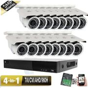 5mp 16ch All-in-1 Dvr 5mp 4-in-1 Ahd Security Camera System 3tb Bullet Ip66 36