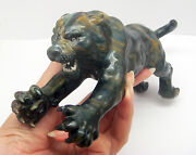 Natural Tigerand039s Eye Stone Tiger Figurine Carving Statue 4 Home Decor/collectible