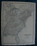 Large Antique Map Of Eastern United States Of America Published 1861