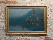Amelie Burdin - Night Time At The Marina - 19th Century French Oil Painting 1880