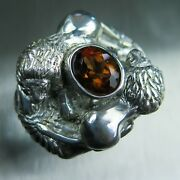 3.3cts Natural Imperial Champagne 925 Silver /9ct 14k 18k Gold Lions Unisex Ring