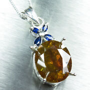 8.9cts Natural Sphalerite And Sapphires 9ct 14k 18k Yellow White Gold Pendant