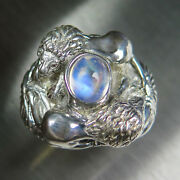 3.6ct Natural Rainbow Moonstone 925 Silver / 9ct 14k 18k Gold Lions Unisex Ring