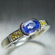 Natural Purple Tanzanite 925 Silver 9ct 14k 18k Gold Unisex East West Ring