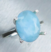 5.1ct Natural Lagoon Blue Larimar 925 Silver / Gold Solitaire Engagement Ring