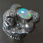 1.8cts Natural Multi-colour Welo Opal 925 Silver /gold Lion Unisex Ring
