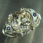 4.4ct Natural Imperial Topaz And Sapphires 925 Silver /9ct 14k 18k Gold Ring