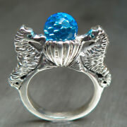3.35ct Natural Swiss Blue And Diamond 9ct 14k 18k Gold Engagement Seahorse Ring