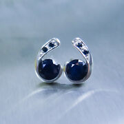 Natural Solid Blue Sapphires 925 Sterling Silver/ 9ct 14k 18k Gold Stud Earrings