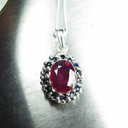2.4ct Natural Red Ruby And Sapphire 925 Sterling Silver / 9ct 14k 18k Gold Pendant