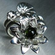 2 Rings Natural Green Tourmaline 925 Silver Gold Water Lily Stackable Engagement