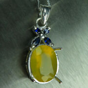 Natural Honey Yellow Fire Opal And Sapphires 9ct 14k 18k Yellow White Gold Pendant
