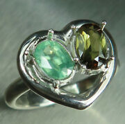 Natural Andalusite And Kyanite 925 Silver 9ct 14k 18k Gold Engagement Heart Ring