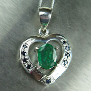 Natural Colombian Emerald Andsapphire 925 Sterling Silver /gold Heart Pendant