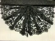 Handmade Beaded Mesh Lace Fabric By Yardflower/floral Lace Embroidery/ Black