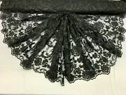 Handmade Beaded Mesh Lace Fabric By Yard,flower/floral Lace Embroidery/ Black