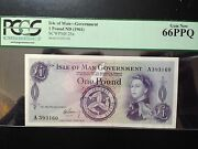 Isle Of Man 1 Pound Bank Note-rare 1961 Early Pcgs 66 Gem New-sign Garvey