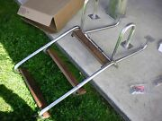 New Old Stock Teak And Stainless 3 Step Flip Down Boarding Steps