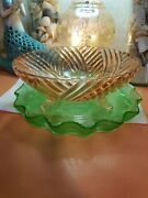 Vintage Pink Depression Glass Footed Swirl Green Antique Fruit Bowl Pie Plate