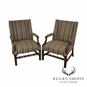 Chippendale Style Custom Mahogany Carved Pair Library Open Armchairs