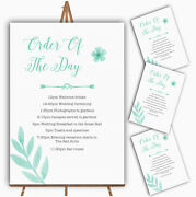 Watercolour Subtle Teal Mint Green Personalised Wedding Order Of The Day Cards