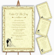 Gold Yellow Classic Personalised Wedding Order Of The Day Cards And Signs