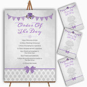 Vintage Rustic Style Bunting Purple And Silver Wedding Order Of The Day Cards
