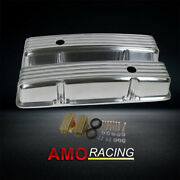 Retro Finned Polished Aluminum Tall Valve Covers Fit 58-86 Sbc Chevy 350 400