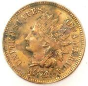 1874 Indian Cent Penny 1c - Certified Icg Ms60 Details Unc - Rare Coin