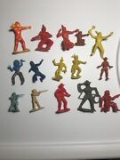 Vtg Wild West Cowboys Indians Toy Plastic Figures 1960 Yellow Red Blue Brown Lot