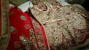 Bridal Red And Gold Lengha Dress Heavy Diamante Embroidered Size 12