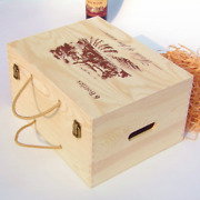2x Six Bottles Wooden Wine Crate Box Christmas Gifts Wood Treasure Large Boxes