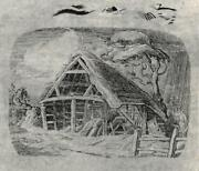 Leslie Moffat Ward 1888-1978 Small Etching The Old Cart Shed 1945