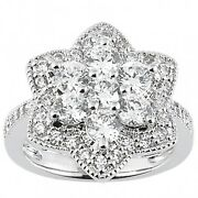 2.30 Carats Womenand039s Round Brilliant Cut Diamond Cocktail Ring In 14k White Gold