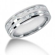 1.65 Carat Menand039s 2 Row Baguette Cut Diamond Wedding Band Ring In 14k White Gold