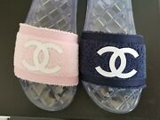 Iconic Pool Party Cc Logo Terry Cloth Navy Pink Slides I Love Shoes