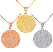 Solid Gold Vegvisir Protection Runes Viking Compass Icelandic Pendant Necklace