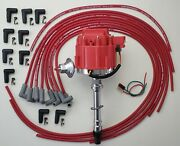 Chevy Small Block 327 350 Hei Distributor + Red 8.5mm Universal Spark Plug Wires