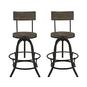 2pc Industrial Country Rustic Style Antique Pub Bar Stool Chair, Metal Wood 4636