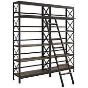 Industrial Modern Contemporary Living Room Natural Wood Metal Stand, 120