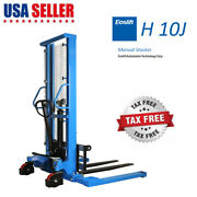Manual Forklift Pallet Stackers Hand Pump Lift Trucks 2200lb 63 Max Fork Height