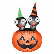 53 Halloween Airblown Inflatable Crows In Pumpkin Lighted Yard Decor