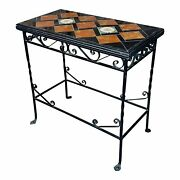 Spanish Beautiful Vintage Wrought Iron And Tile Side Table