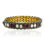3.76ct Diamond 14k Gold 925 Sterling Silver Ruby Vintage Style Bangle Jewelry