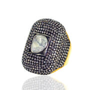 6.49ct Natural Pave Diamond 18k Gold Sterling Silver Long Ring Handmade Jewelry