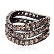 Memorial Day Gift 4.38 Ct Pave Diamond Sterling Silver Band Ring Fashion Jewelry
