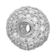 18k White Gold 10mm Size Bead 1.4ct Pave Diamond Spacer Finding Jewelry