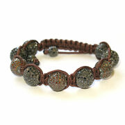 Champagne/black Diamond Pave Bead Ball Bracelet Silver Jewelry Gift For Women