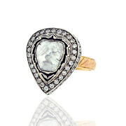 1.53 Ct Diamond 14kt Solid Gold 925 Sterling Silver Pear Shape Ring Gift Jewelry